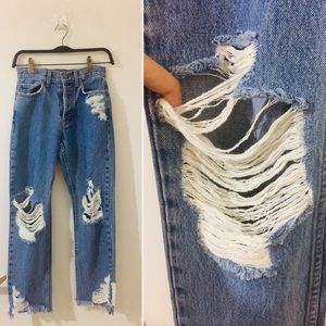 New! LF/Carmar high waist Destroyed denim jeans
